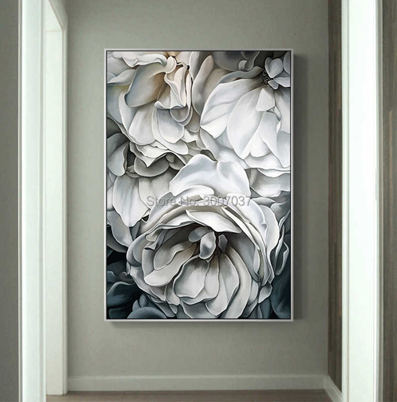 الشمال نمط زهرة بيضاء قماش اللوحة جدار الفن صور لغرفة المعيشة ديكور المنزل الحديث اليدوية لوحة زيتية قماشية