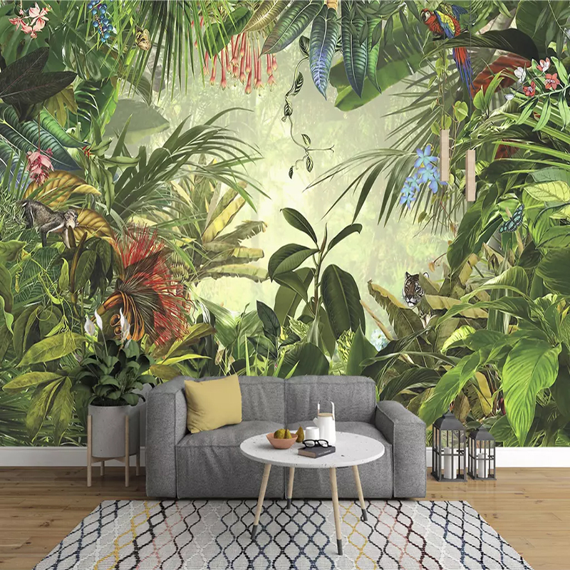 European Vintage Hand-painted Rainforest Banana Leaf Photo Wallpaper Bedroom Living Room TV Background Wall Non-woven 3D Mural
