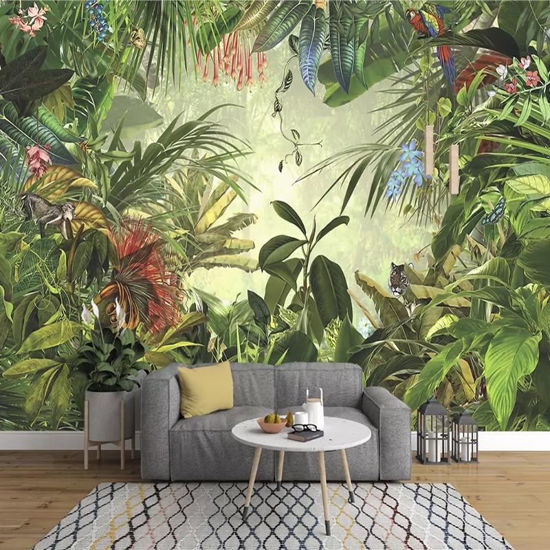 European Vintage Hand-painted Rainforest Banana Leaf Photo Wallpaper Bedroom Living Room TV Background Wall Non-woven 3D Mural