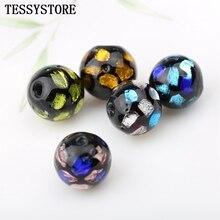 5pcs 10mm Multi-Color Round Lampwork Beads Pattern Inside Gl