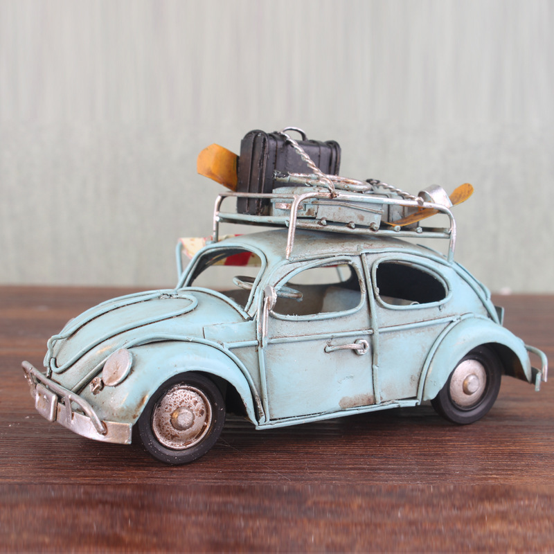 Collections 1/32 Car Model Retro Vintage Car TIN Model Handmade Iron Car Toys Ornaments Model