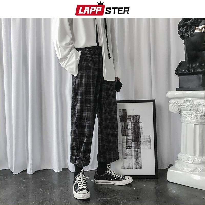 LAPPSTER Mens Korean Plaid Pants Casual Harem Pants 2020 Mens Casual Black Sweatpants Women Chic Harajuku Loose Hip Hop Joggers