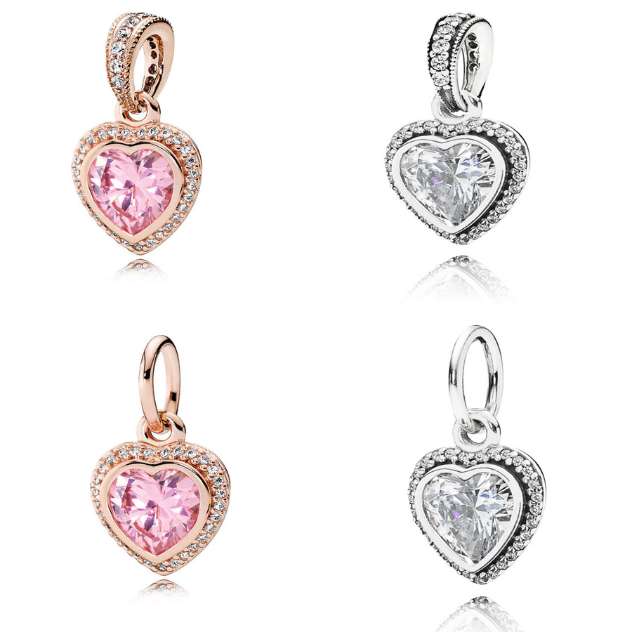 Real 925 Sterling Silver Sparkling Love Heart Pendant Charm Fit Pandora Bracelet Necklace Rose Gold Pendant Charm Diy Jewelry Beads Aliexpress