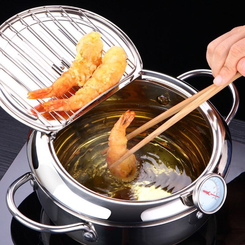 LMETJMA Japanese Deep Frying Pot with a Thermometer and a Lid 304 Stainless Steel Kitchen Tempura Fryer Pan 20 24 cm KC0405 1