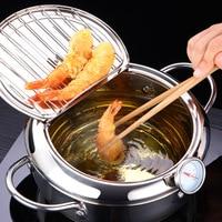 LMETJMA marmite japonaise avec un thermomètre et un couvercle 304 inox cuisine Tempura friteuse poêle 20 24 cm KC0405 1