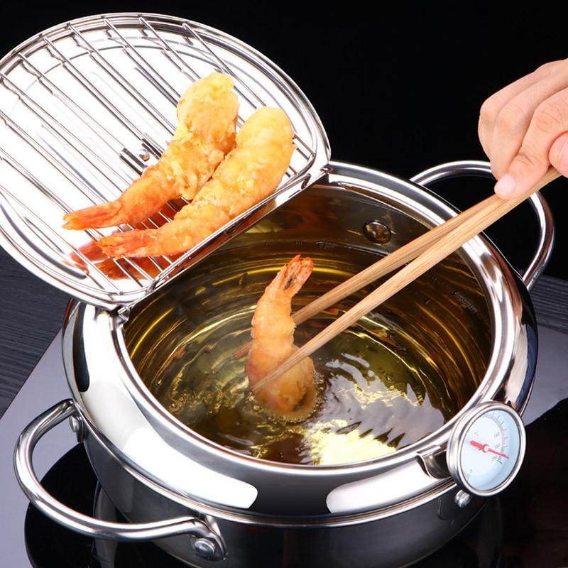 LMETJMA японский глубокая сковорода с термометром и крышкой 304 нержавеющая сталь кухня темпура сковорода для жарки 20 24 см KC0405