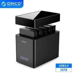 ORICO serie DS 5 Bay magnético 3,5 ''USB3.0 HDD estación de acoplamiento soporte 50TB Max 5Gbps UASP Funda de disco duro herramienta gratuita HDD 12V 12V