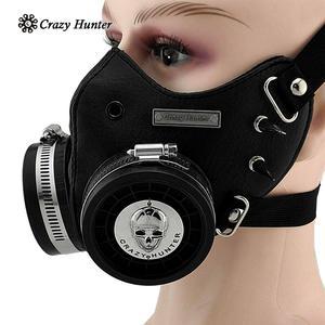 Image 2 - Steampunk Masker Cosplay Skull Masque Mannen/Vrouwen Gothic Leren Masker