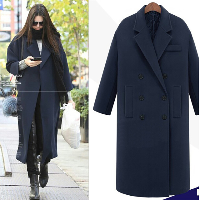 JAPPKBH Autumn Winter Wool Long Coat Jacket Casual Double Breasted Christmas Blazer Outwear Elegant V-neck Women Coat Bayan Mont 2