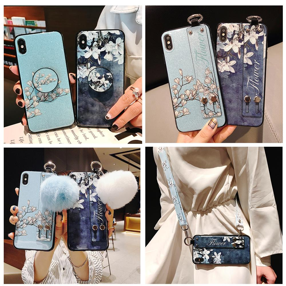Phone Holder Case For Samsung GALAXY A6 Plus A7 A8 A9 Star Pro A9S J7 J8 2018 Flower Soft TPU Neck Wrist Strap Lanyard Case image
