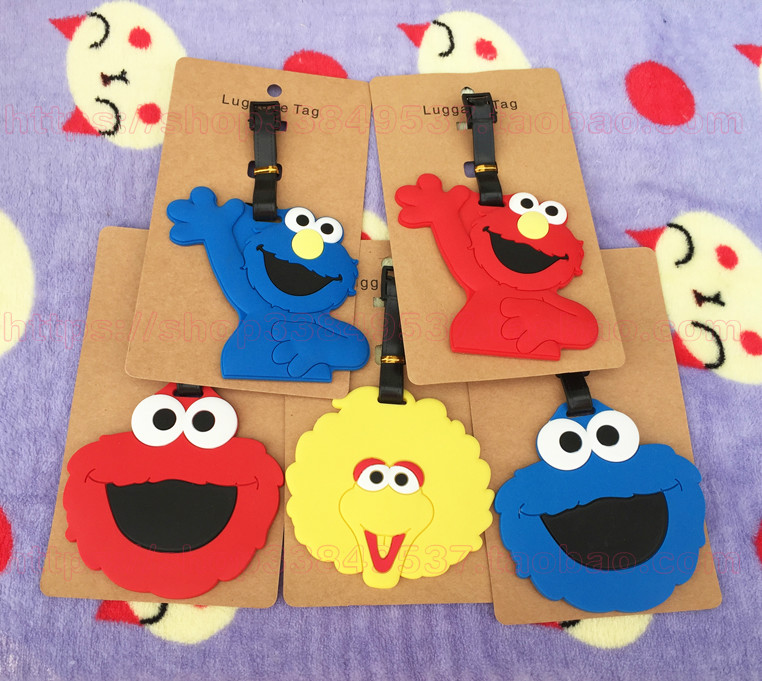 1pcs Sesame Street Anime Travel Brand Luggage Tag Suitcase ID Address Portable Tags Holder Baggage Label New