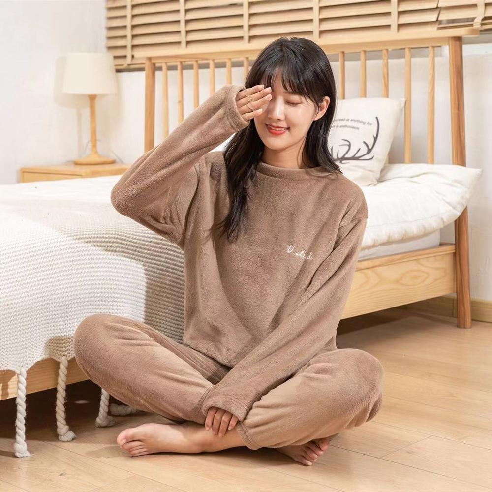 Autumn Winter Warm Flannel Women Pyjamas Sets Thick Coral Velvet Long Sleeve Sleepwearannel Paiamas Set for Gir 17