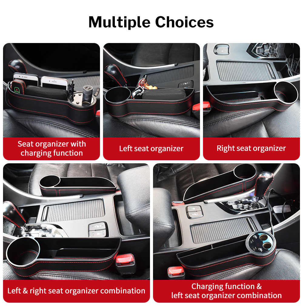 Queentres Car Seat Gap Storage Organizer Side Gap Filler Car Slit Pockets Storage Box for Car Seat Catcher Gap Storage Organizer