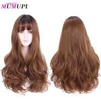 MUMUPI longue perruque bouclée synthétique avec frange racine sombre Ombre couleur haute densité naturel titre résistant à la chaleur perruque de cheveux pour les femmes
