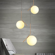 Nordic LED Ball Pendant Lamps Fixtures Dining Bedroom Room Frosted Lights Glass Shade Socket Hanging Luminaire