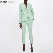 Light Green Office Lady Suit Women Two Piece Set Notched Col