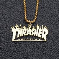 Flamme anglais colliers hommes lettre pendentifs en acier inoxydable cadeaux en gros pour hommes accessoires hip hop grand collier en or