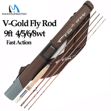 Maximumcatch V-Gold 9FT 4/5/6/8WT Fly Fishing Rod 4Pcs Fast Action Pacbay Guides Fly Rod with a Triangle Cordura Rod Tube