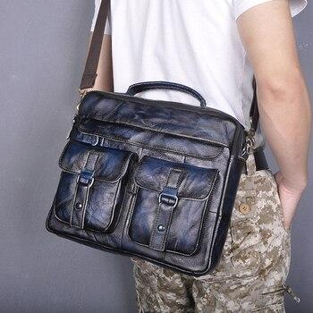 """Le'aokuu Men Quality Real Leather Antique Style Blue Briefcase Business 13"""" Laptop Cases Attache Messenger Bags Portfolio B207"""