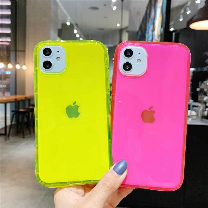 นีออนเรืองแสงสีโทรศัพท์กลับสำหรับ iPhone 7 8 PLUS Soft TPU CLEAR สำหรับ iPhone 11 Pro XR X XS MAX Case