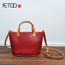 AETOO 2017 new original hand-made tannage leather retro veneer bag leather leather Japan and South Korea zipper messenger bucket
