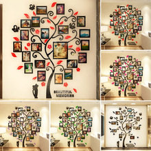 New 3D Acrylic Crystal Wall Sticker Adhesive DIY Stereo Photo Frame Tree Pattern Wear Resistant Home DOM668