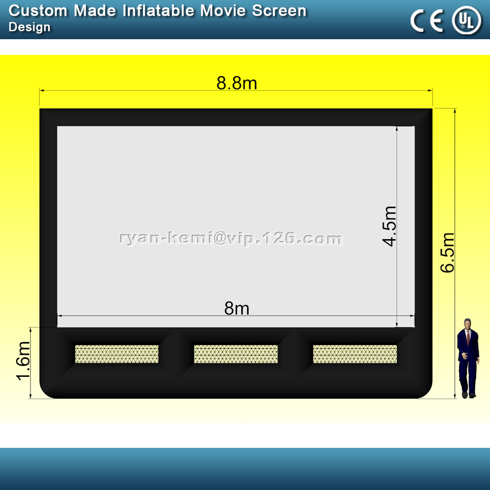 Custom Made 8m Screen Size Inflatable Movie Screen With Black Back Curtain Without Blower Free Shipping