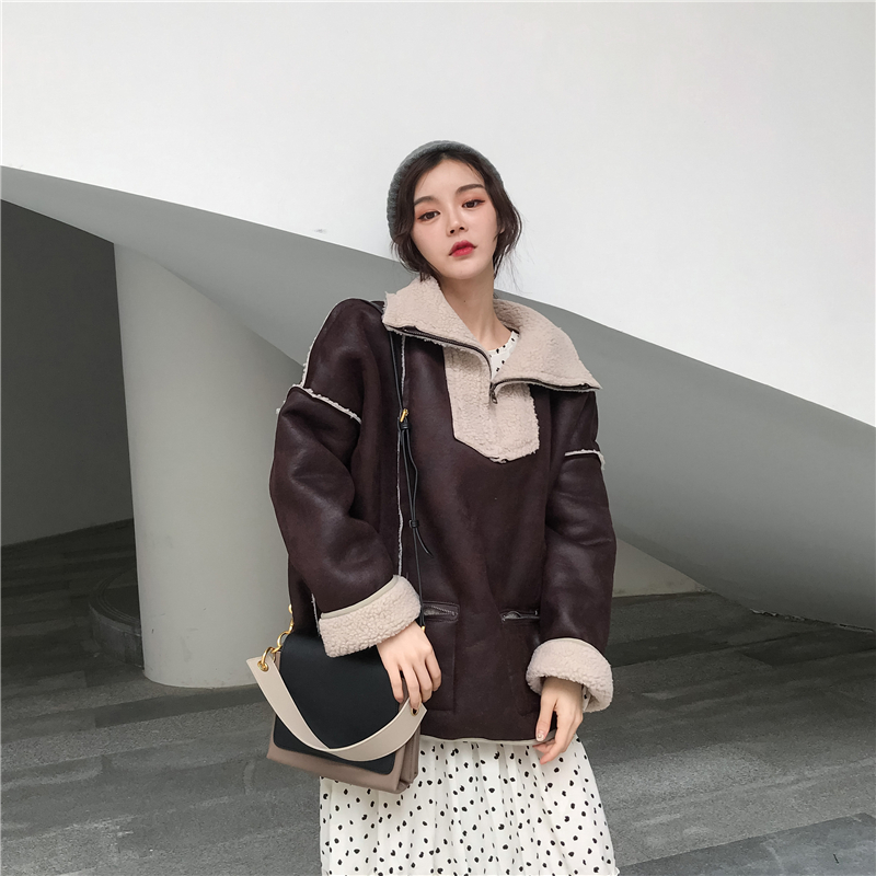 2019 Winter Loose Retro Faux   Leather   Jacket Pockets Thick   Suede   Faux Lamb Fur Biker Jackets and Coats Women Outerwear TA5266