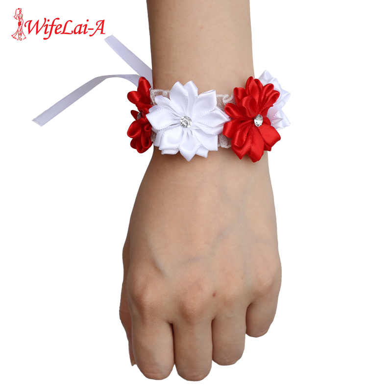 6piece/lot White Red Hand Wrist Flower Satin Rose Bride Bridesmaid Wrist Corsage Bracelet Wedding Hands Prom Accessoirs SW0678-Z