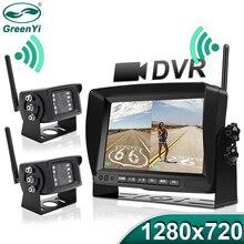 "GreenYi 1280x720 عالية الوضوح AHD شاحنة لاسلكية DVR مراقب 7 ""للرؤية الليلية عكس مسجل النسخ الاحتياطي واي فاي كاميرا ل حافلة سيارة"