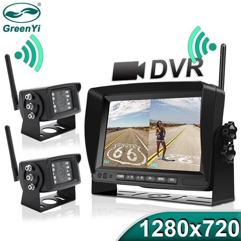 """GreenYi 1280x720 wysokiej rozdzielczości AHD bezprzewodowa ciężarówka DVR Monitor 7 """"Night Vision rewers Backup rejestrator kamera Wifi dla autobusu samochodu"""