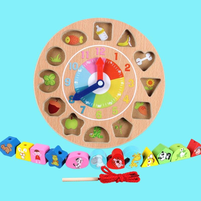 Montessori Early Childhood Educational Toy Clock Building Blocks Children Matching Intelligence Infants Beaded Bracelet Boa Wome