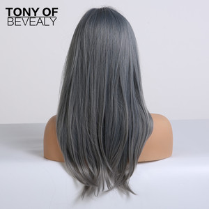Image 4 - Pelucas de pelo largo ondulado sintético resistente al calor para Mujeres Afro Americanas, color azul degradado, con flequillo