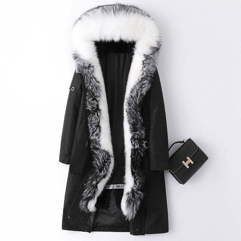 Fashion Luxury Winter Rabbit Fur Inner Tank Parka Women Fox Fur Collar Hooded Fur Coat Real Fur Long Warm Thick Black Outerwear