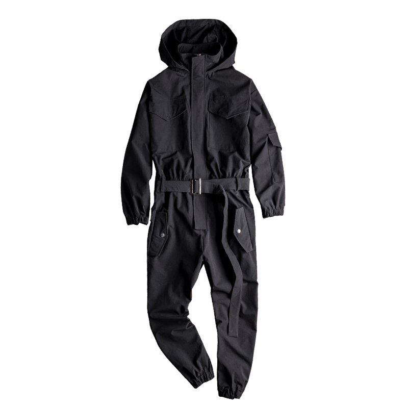 Men's Loose Bib Overalls Hip Hop Jumpsuits With Hooded Jacket Belt Male Workwear Bib Coveralls Suspender Pants Multi Pockets