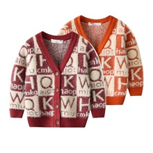 лучшая цена Autumn Children Boys Sweaters Clothes Winter Warm Toddler Kids Fleece Jackets Long Sleeve Infant Baby Knitted Coat 1-4Y Cardigan