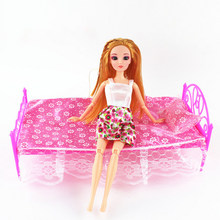 3Pcs/Set Doll Bed Doll Accessories Bed And Sheets And Plastic Pillows Pink Purple Girl Toy Gift Educational Toys Play House Toy(China)