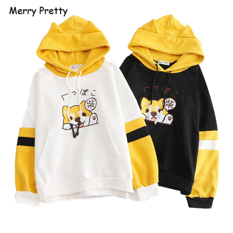 Merry Pretty Women Cartoon Dog Embroidery Harajuku Hoodies Sweatshirts 2019 Winter Patchwork Hooded Plus Velvet Pullovers