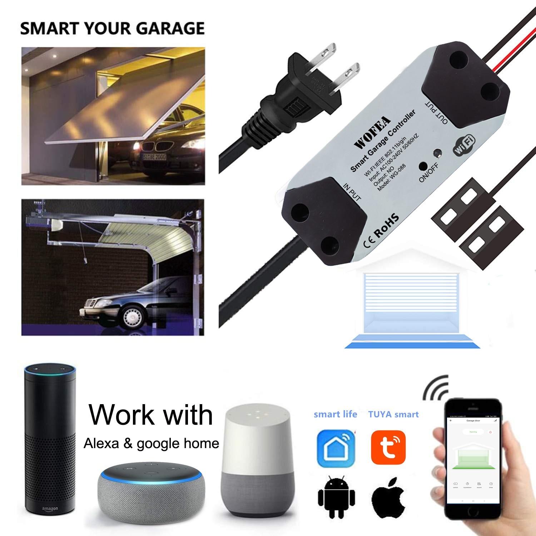 Wofea WiFi 스위치 Smart Garage Door Opener 컨트롤러는 Alexa echo와 함께 작동합니다. Google Home SmartLife/Tuya APP Control 허브가 필요 없음