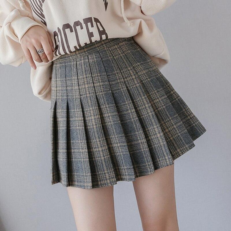 Autumn Winter 2019 High Waist Women Mini Pleated Skirt Plaid Wool A-line Women Mini Skirt Streetwear Girl Chic Skirts