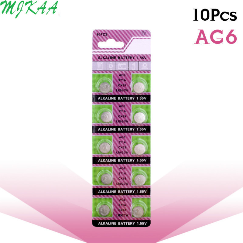 10pcs/pack AG6 Promotion For Watch Button Battery 371 D371 605 Sr920sw Sr69 Alkaline Cocell Button Battery