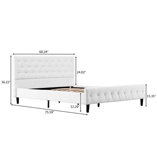 75.6'' x 54.3'' x 31.1'' Button Decoration PU Iron Full Bed 3