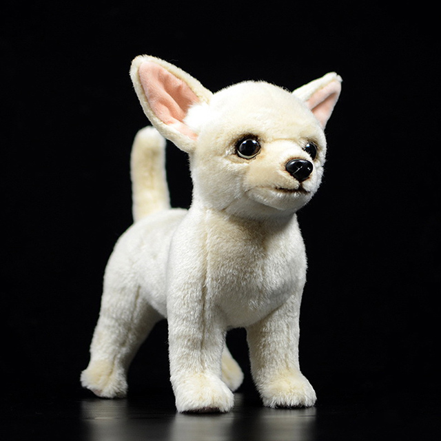 25 センチメートルリアルなチワワ犬ぬいぐるみかわいい犬子犬ぬいぐるみ人形ソフト実生活チワワおもちゃ子供のためのギフト