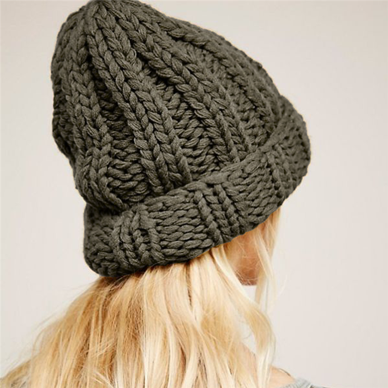 Causal Winter Knitted Hats For Women Fashion Keep Warm Manual Wool Knitted Earmuffs Soft Hats Girls Caps High Quality Female