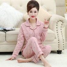100% Cotton Spring Women Pajamas Sets For Women Pyjamas leaf long-sleeve homewear pijamas women 2019 women 100