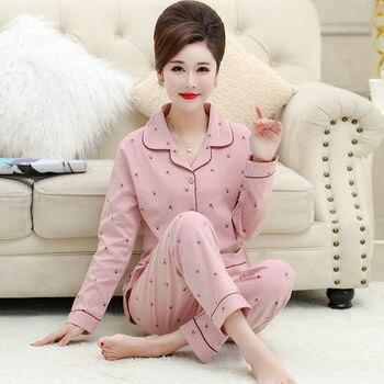 100% Cotton Spring Women Pajamas Sets For Women Pyjamas leaf long-sleeve homewear pijamas women fresh leaf pyjamas women 2020 autumn fall stitch pijamas set 100