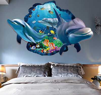 1Pcs Removable DIY Wall Art Stickers Blue Dolphin Vinyl Mural PVC 3D Bedroom Home Decors Sticker 90x60cm