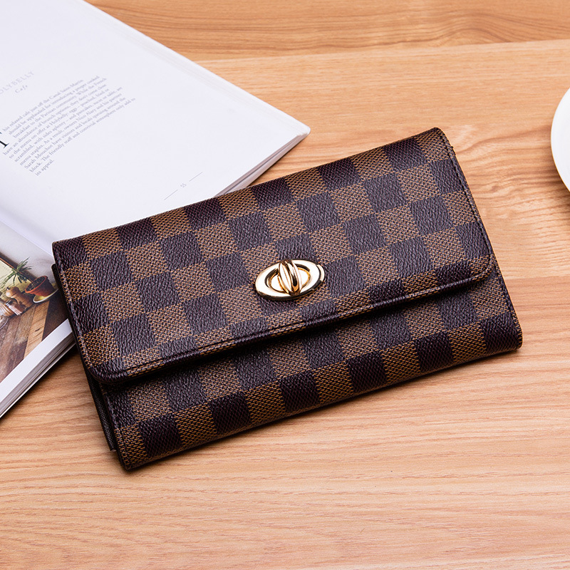 Women Wallet Leather Purse Hasp Wallet Female Long Small Purse Female Vintage Card Holder Lattice Ladies Wallet Coin Purse