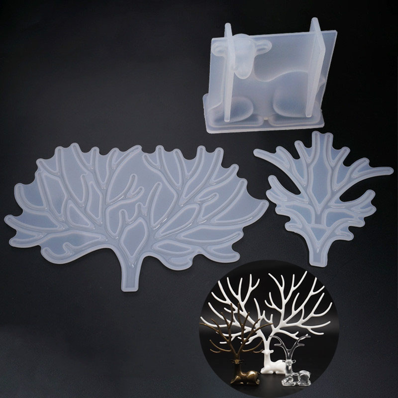 Deer With Horns Big Silicone Mold Jewelry Storage Rack Soft Mold UV Resin Mould Kawaii Resin Craft Supplies Silicone Mold Resin