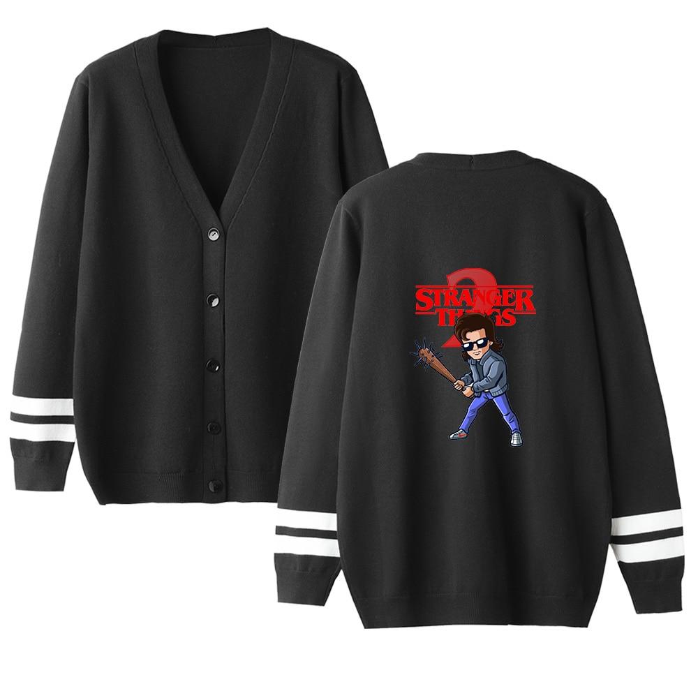 Stranger Things Sweater Men Women Cardigan V-Neck Long Sleeve Crochet Knit Sweater Autumn High Quality Classic Lovers Sweater